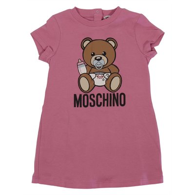 Pink cotton jersey Teddy Bear dress