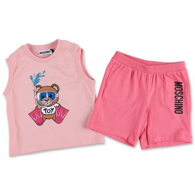 MOSCHINO Teddy Bear cotton jersey set with pink top & shorts