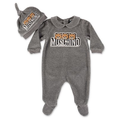 Moschino grey cotton chenille romper & hat