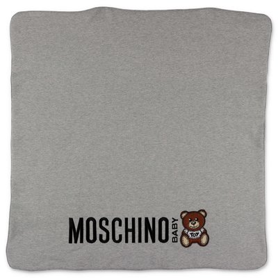 Moschino melange grey cotton blanket