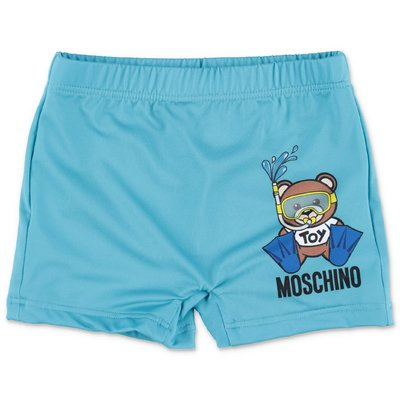 MOSCHINO light blue nylon swim shorts