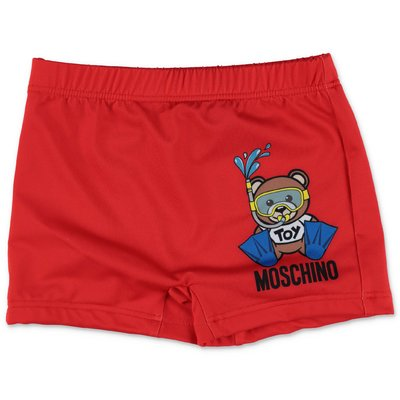 MOSCHINO red nylon swim shorts