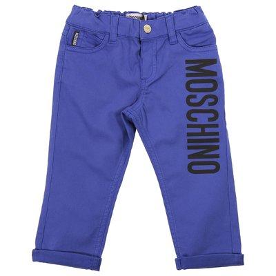 Pantaloni blu royal in gabardina di cotone con logo