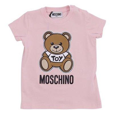 T-shirt rosa Teddy Bear in jersey di cotone con logo