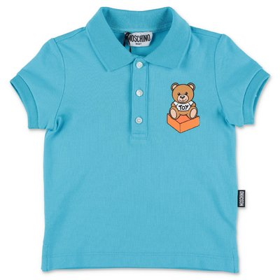 MOSCHINO Teddy Bear light blue cotton piquet polo shirt