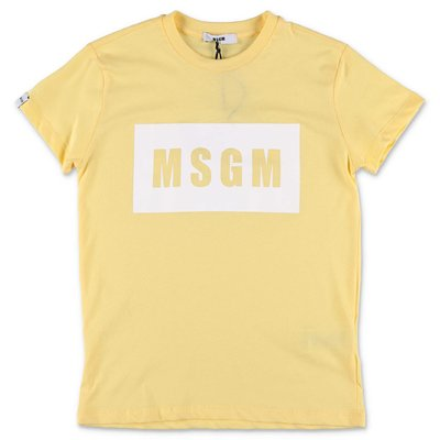 MSGM yellow cotton jersey t-shirt