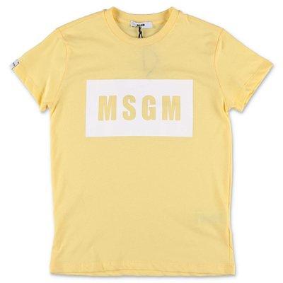 MSGM t-shirt gialla in jersey di cotone