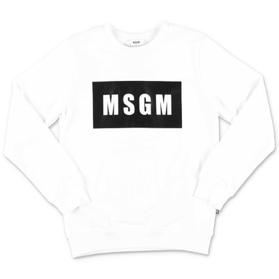 MSGM felpa bianca in cotone