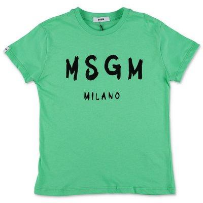 MSGM t-shirt verde in jersey di cotone