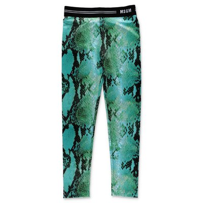 MSGM green python print leggings