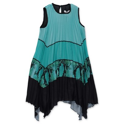 MSGM Tiffany crepe de chine pleated dress