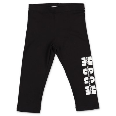 MSGM black stretch cotton leggings