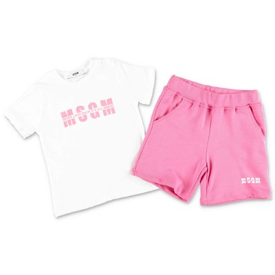 MSGM cotton set with white jersey t-shirt and pink sweat shorts