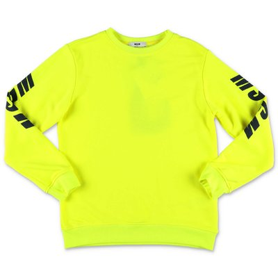 MSGM fluorescent yellow cotton sweatshirt