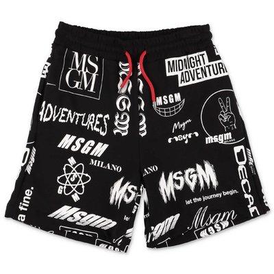 MSGM shorts neri in felpa di cotone