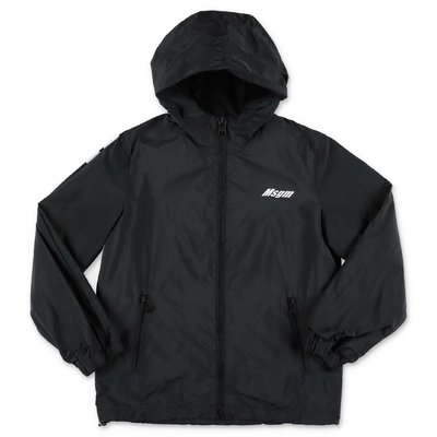 MSGM black nylon waterproof jacket with hood