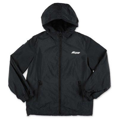 MSGM giacca a vento nera in nylon con cappuccio