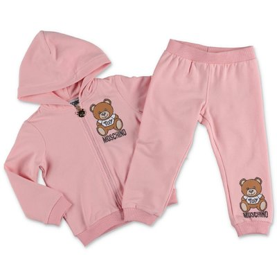 Moschino pink cotton sweatshirt tracksuit set