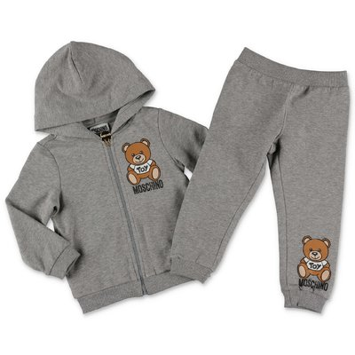 Moschino melange grey cotton sweatshirt tracksuit set