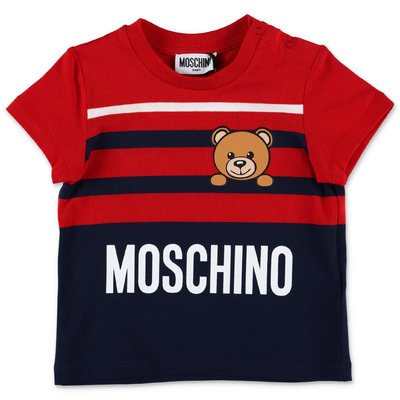 MOSCHINO Teddy Bear red & blue cotton jersey t-shirt