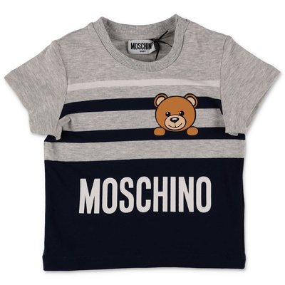 MOSCHINO Teddy Bear grey & blue cotton jersey t-shirt