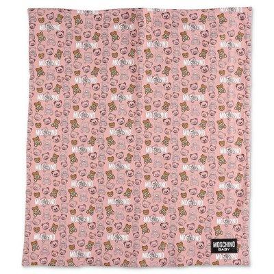 بطانية MOSCHINO من القطن الوردي مع طبعات أيقونية