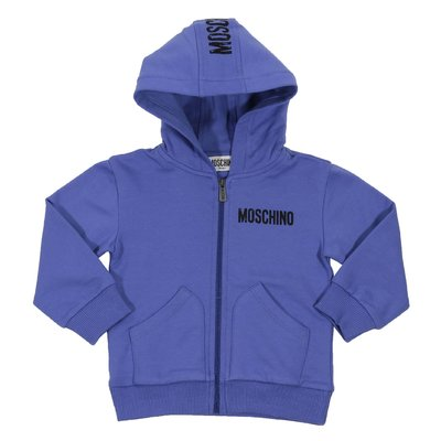Blue zip-up cotton sweatshirt hoodie