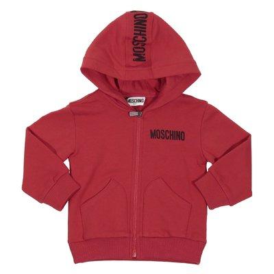 Felpa rossa in cotone con cappuccio e zip