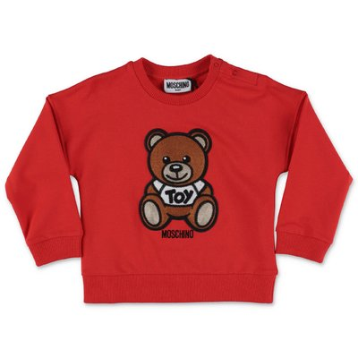 MOSCHINO felpa rossa Teddy Bear in cotone