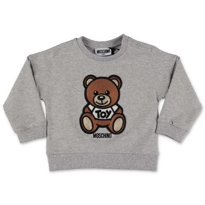 MOSCHINO Teddy Bear melange grey cotton sweatshirt