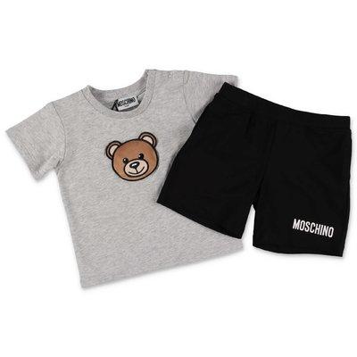 MOSCHINO completo in jersey di cotone con t-shirt melange grey e shorts neri