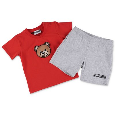 MOSCHINO red t-shirt & melange grey shorts cotton jersey set