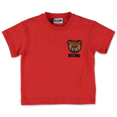 MOSCHINO t-shirt rossa Teddy Bear in jersey di cotone