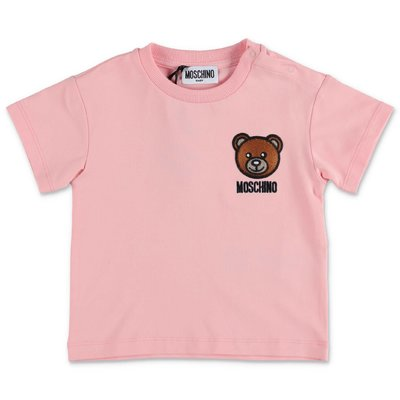 MOSCHINO t-shirt rosa Teddy Bear in jersey di cotone