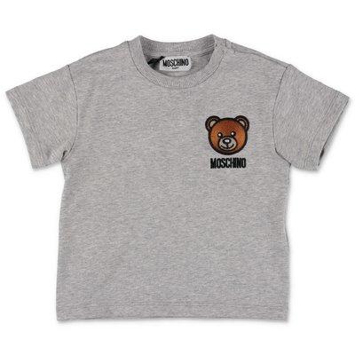 MOSCHINO t-shirt grigio melange Teddy Bear in jersey di cotone