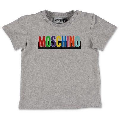 MOSCHINO t-shirt grigio melange in jersey di cotone