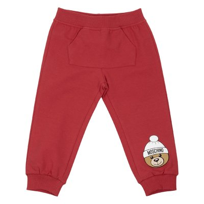 Red logo detail cotton pants