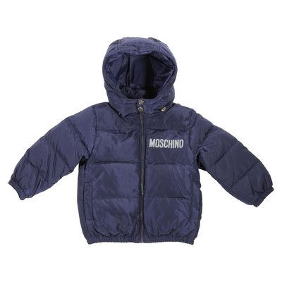 Blue logo detail nylon padded jacket with hood