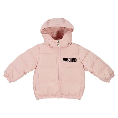 Pink logo detail nylon padded jacket with hood