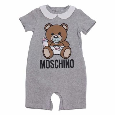 Melange grey cotton jersey Teddy Bear romper