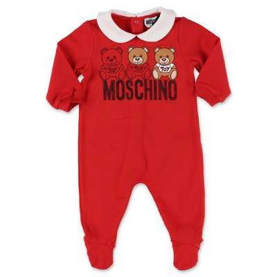 Moschino red cotton sweatshirt romper