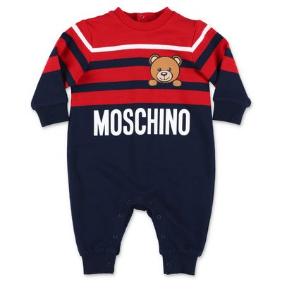 MOSCHINO Teddy Bear red & blue cotton jersey romper