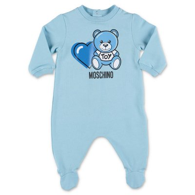MOSCHINO light blue Teddy Bear cotton jersey romper