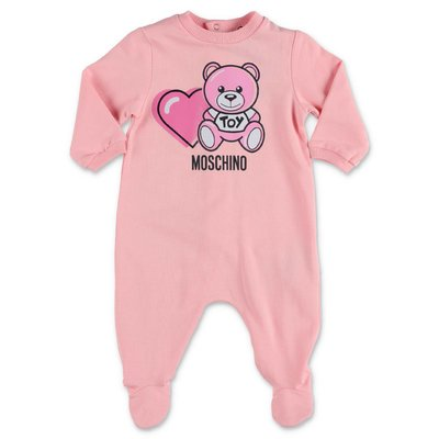 MOSCHINO pink Teddy Bear cotton jersey romper