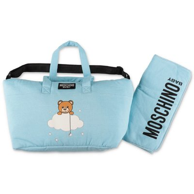 Moschino sky blue cotton changing bag