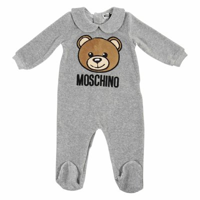 Teddy Bear grey chenille romper
