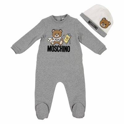 Teddy Bear cotton grey romper and white hat set