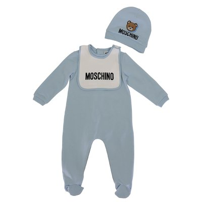 Moschino sky blue Teddy Bear cotton jersey romper, hat and bib set