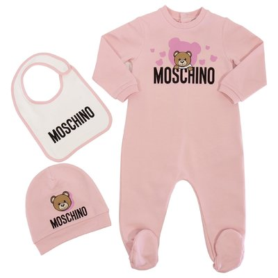 Moschino pink Teddy Bear cotton jersey romper, hat and bib set