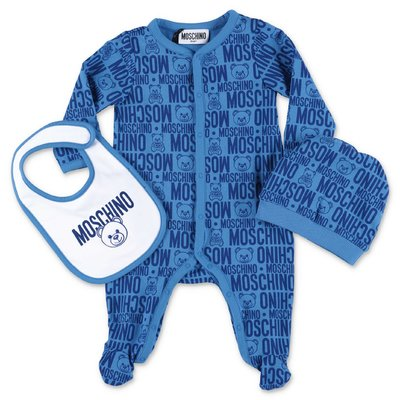 MOSCHINO blue cotton jersey romper, bib & hat set